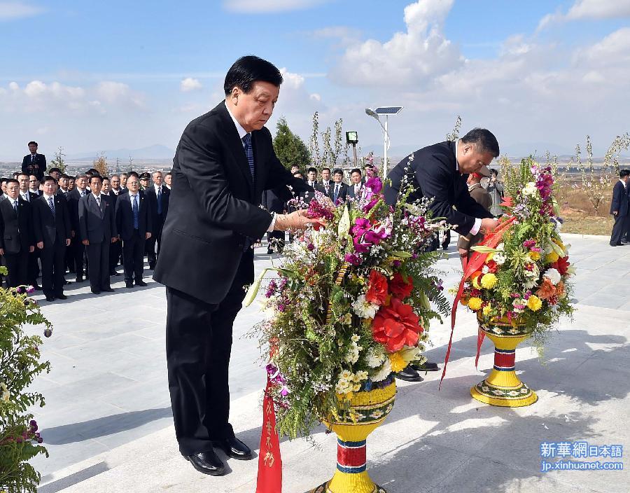 劉雲山氏、安州の中国人民志願軍烈士陵園の墓参りをし