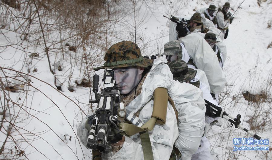 韓米が酷寒の雪の地面で合同訓練を行い