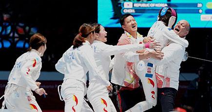 第18回アジア大会 中国が金 フェンシング女子エペ団体