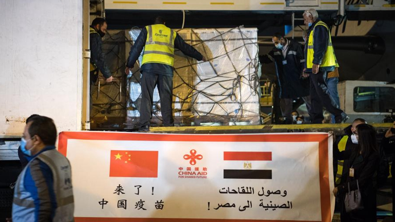中国の援助によるコロナワクチン、エジプト到着